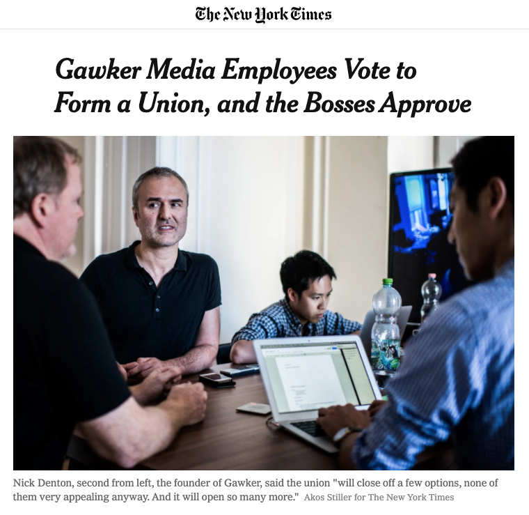 Gawker votes yes to unionize
