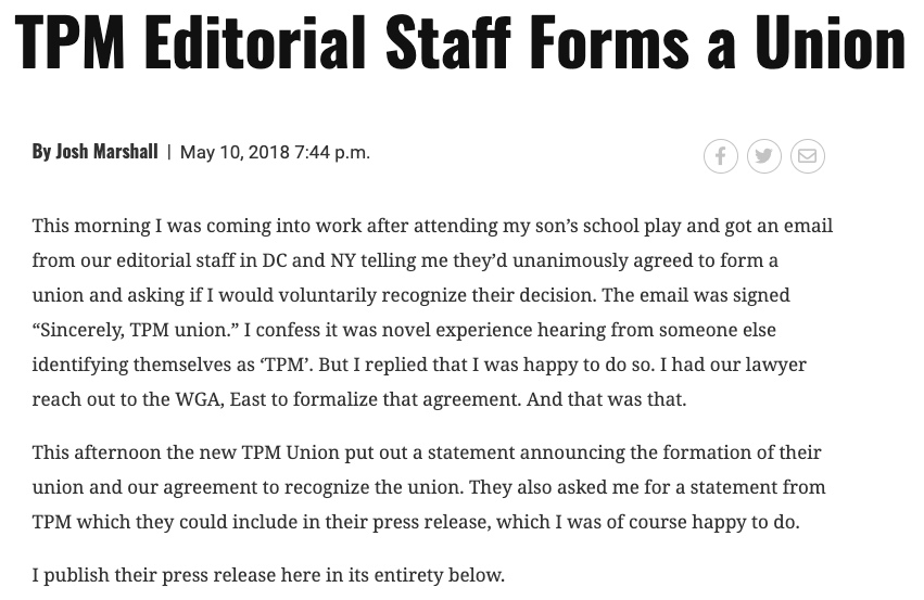 Talking Points Memo announces intent to unionize and begins bargaining shortly after