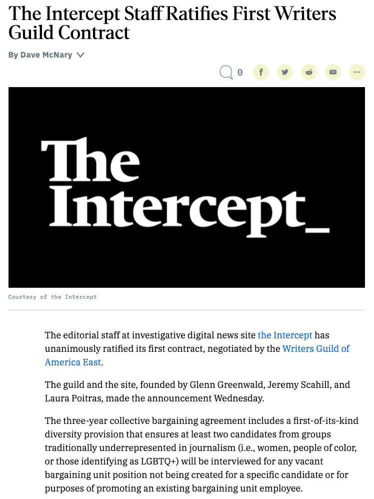 The Intercept union ratifies first contract