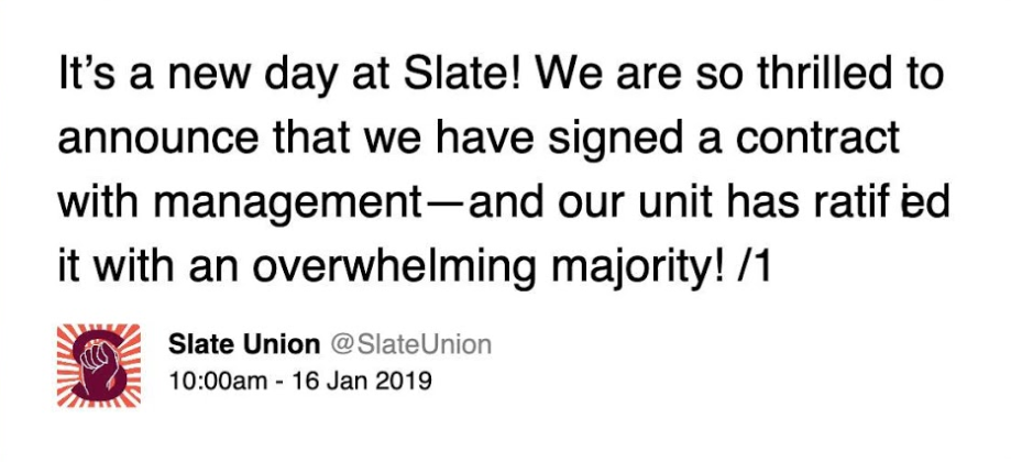 Slate ratifies first contract