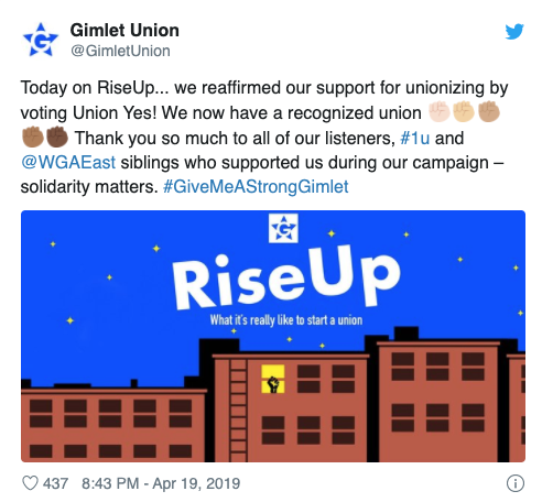 Gimlet votes yes to unionize