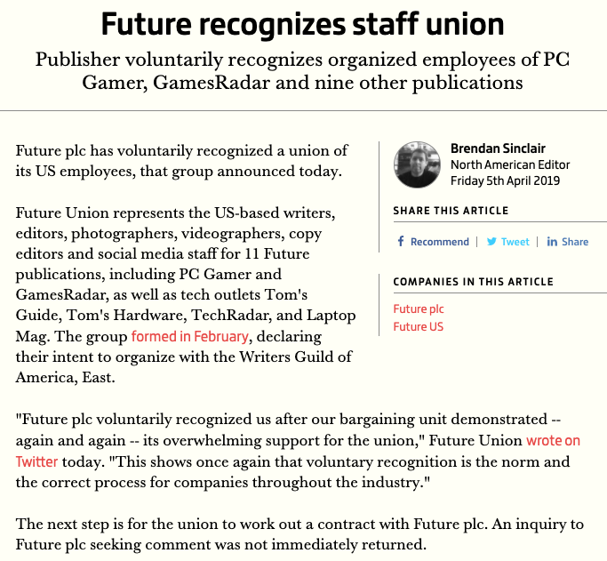 Future union recognized