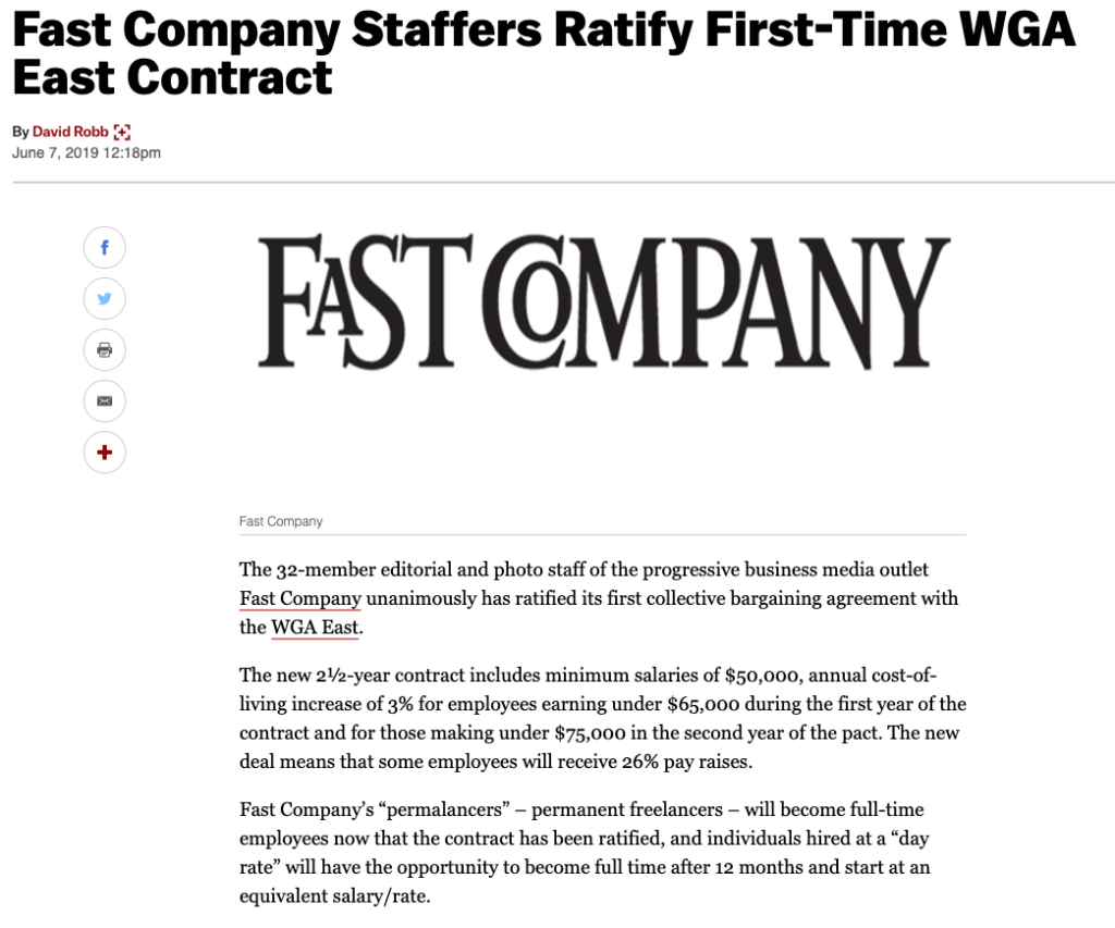 Fast Company ratifies contract