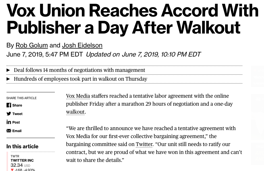 Vox ratifies contract after day long walkout