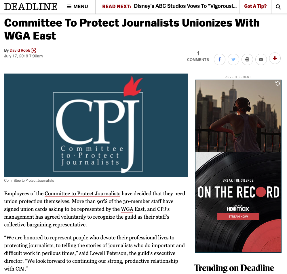 Committee to Protect Journalists (CPJ) goes public and gains voluntary recognition