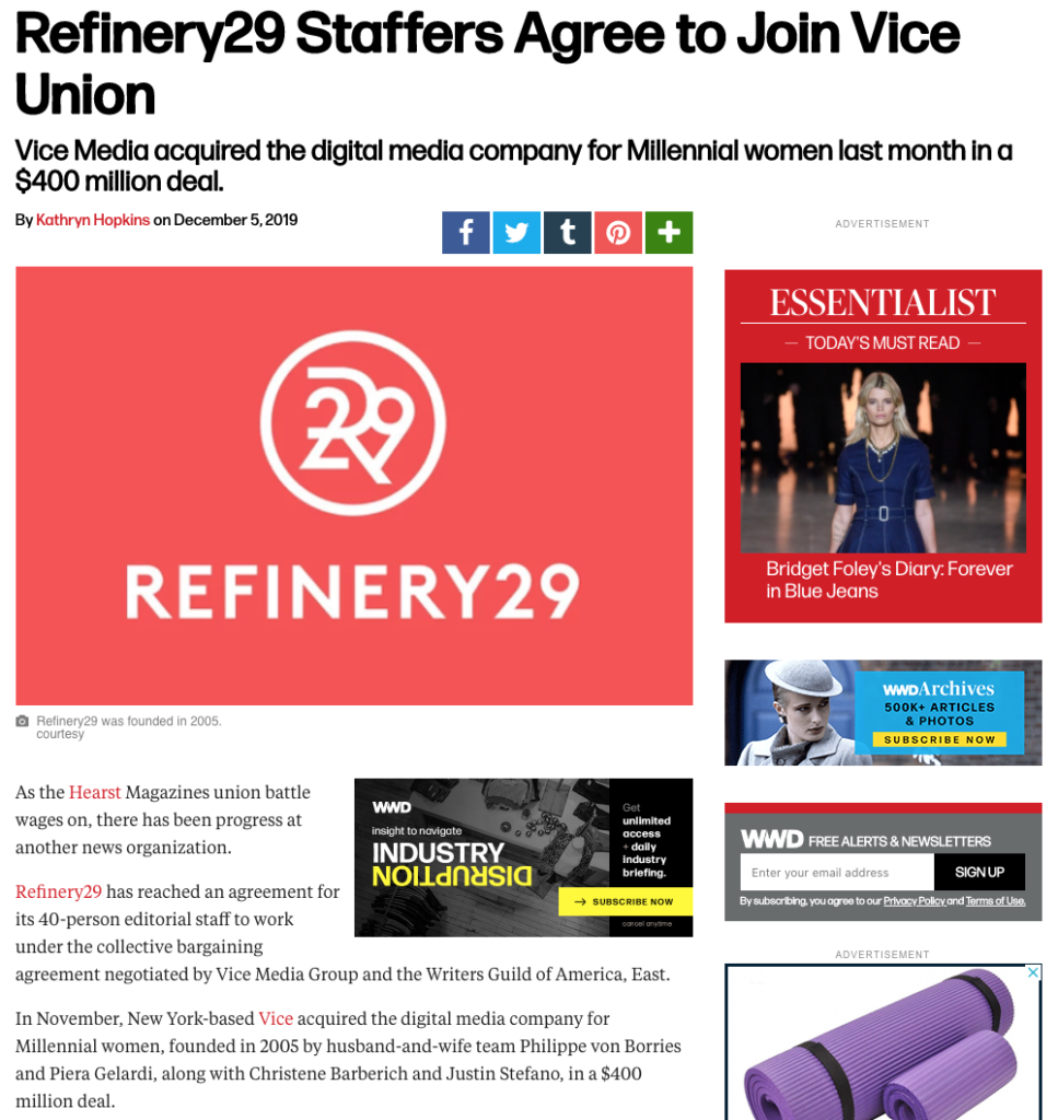 Refinery29 union joins VICE union after being purchased by the company in November