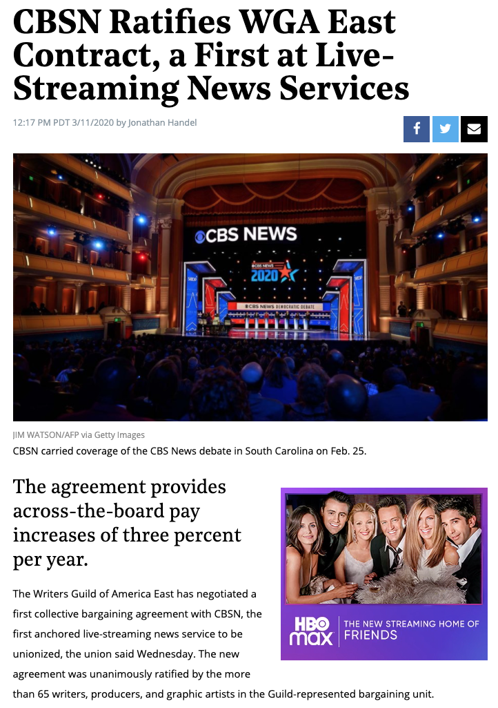 CBSN ratifies first contract