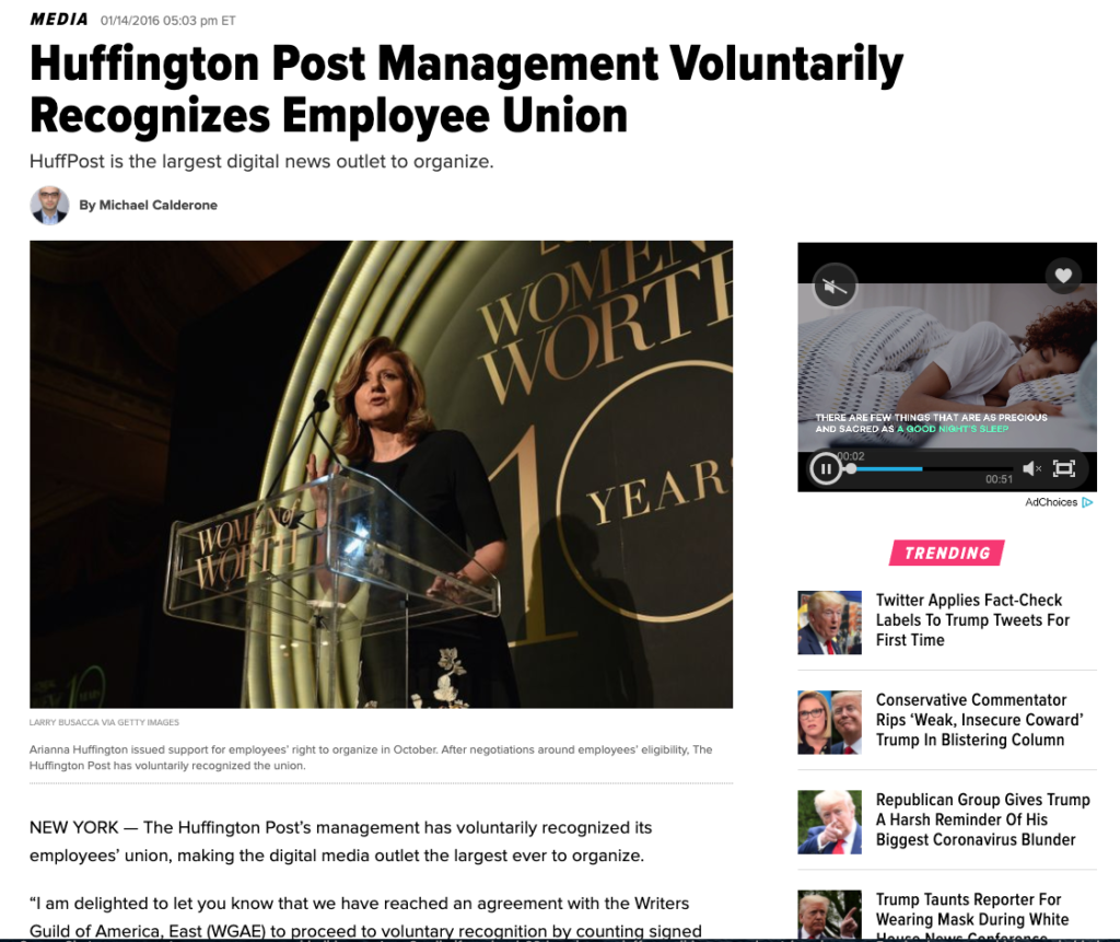 HuffPost Union wins recognition