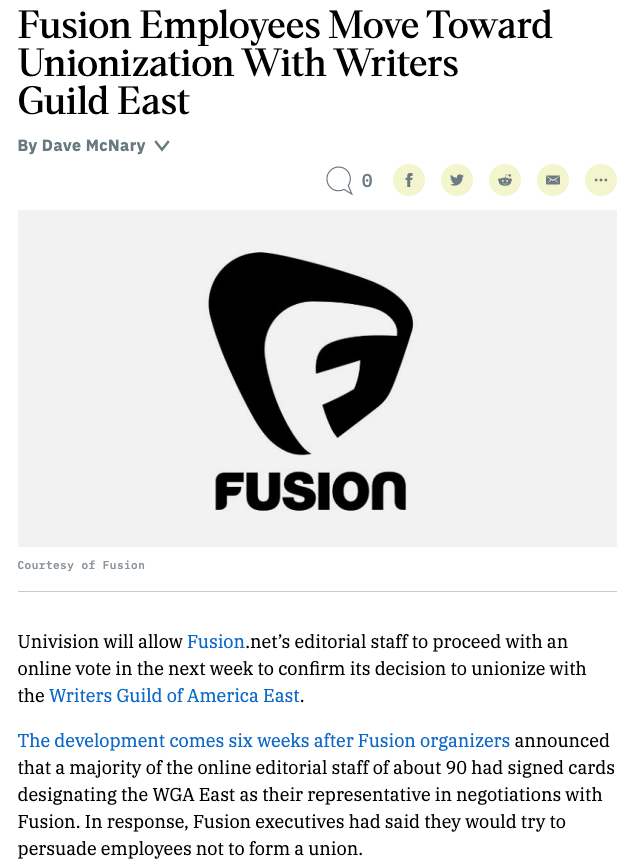 Fusion and The Root, both under Univision, announce intention to unionize