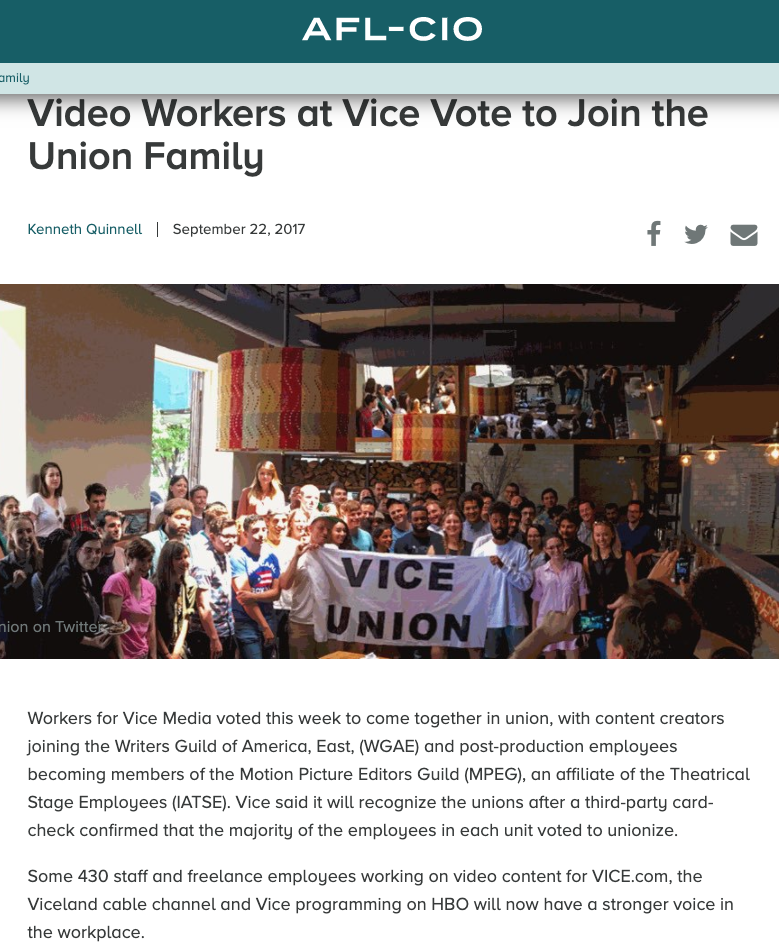 Employees at VICE News and Viceland TV won recognition