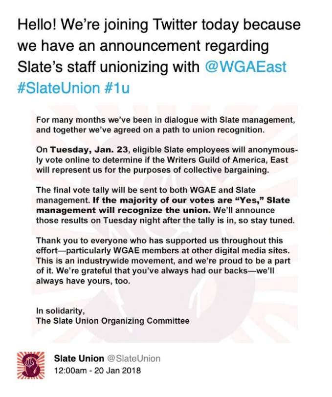 Slate union is recognized