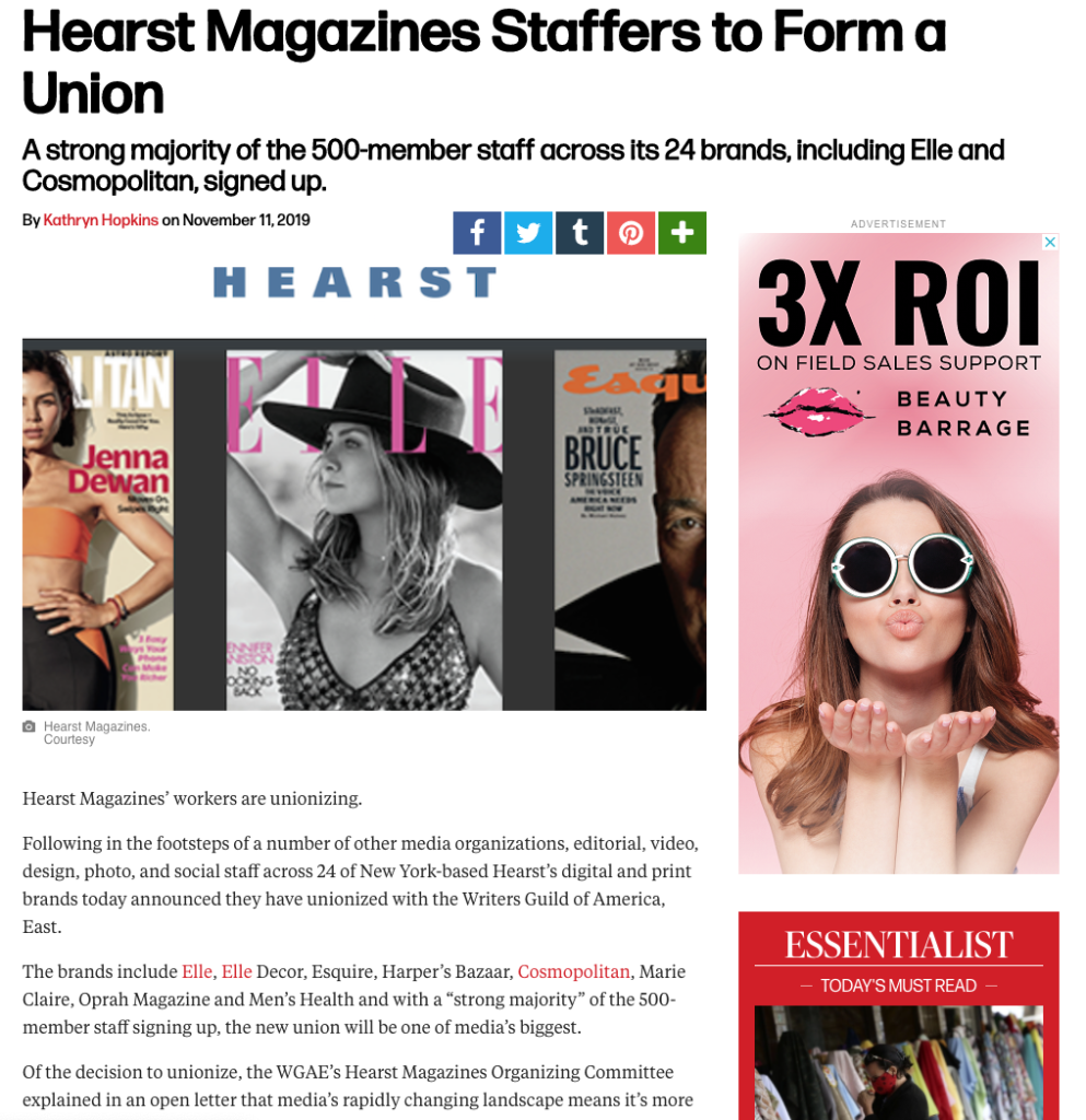 Hearst Magazines Staffers to Form a Union